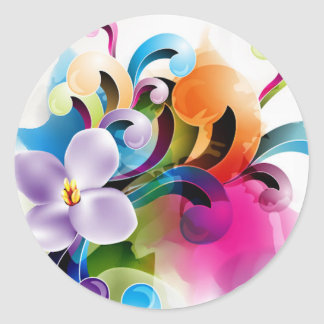 Bright Abstract Classic Round Sticker