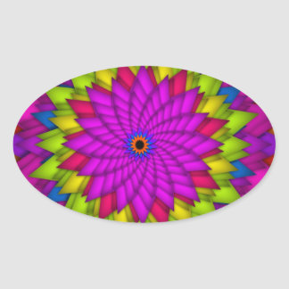 Bright Abstract Colorful Flower Oval Sticker