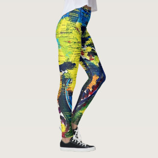 Bright Abstract Drop Cloth Leggings