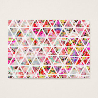 Bright Abstract Floral Triangles Pastel Pattern Business Card