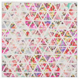 Bright Abstract Floral Triangles Pastel Pattern Fabric