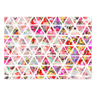 Bright Abstract Floral Triangles Pastel Pattern Large Business Card
