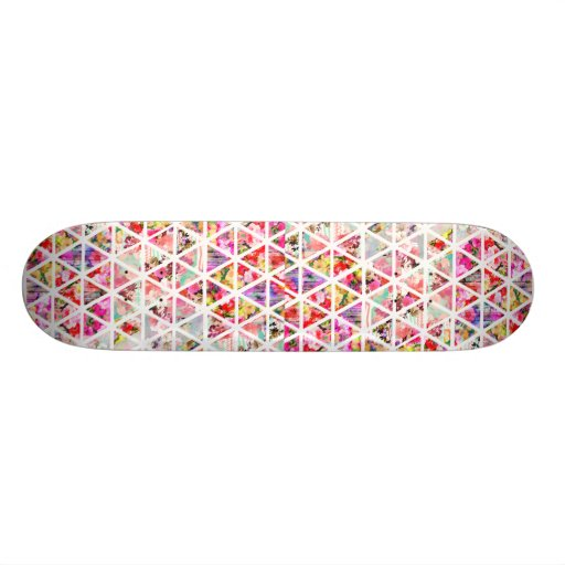 Bright Abstract Floral Triangles Pastel Pattern Skateboard Deck