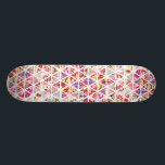 "Bright Abstract Floral Triangles Pastel Pattern Skateboard Deck<br><div class=""desc"">Modern,  girly and stylish geometrical pattern design featuring abstract white triangles mosaic filled with different trendy floral patterns with preppy and vintage elegant flowers in pastel pink,  teal,  yellow,  turquoise,  purple,  red with roses and romantic peonies...  Perfect gift for her,  the crafty gal,  girly girl and trend setter.</div>"