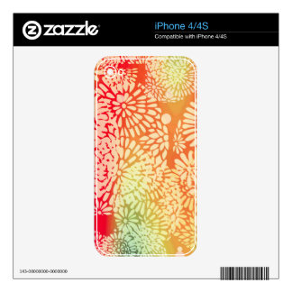 Bright Abstract Flower Power Design Decals For The iPhone 4