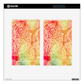 Bright Abstract Flower Power Design Skins For Kindle Fire