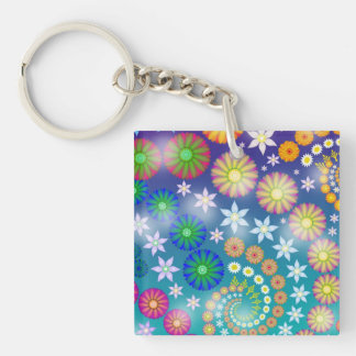 Bright Abstract Fractal Flowers Keychain