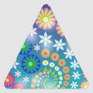 Bright Abstract Fractal Flowers Triangle Sticker