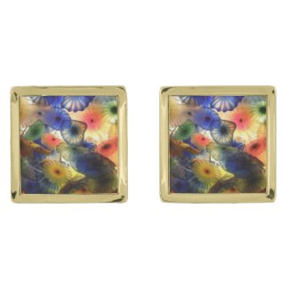 Bright Abstract Jelly Fish Gold Finish Cufflinks