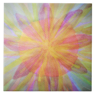 Bright, abstract, kaleidoscope watercolor tile