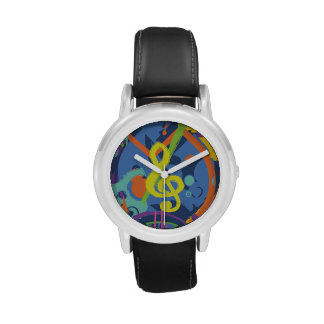 Bright Abstract music design Wrist Watches