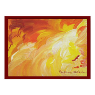 BRIGHT ABSTRACT orange painting texture Poster