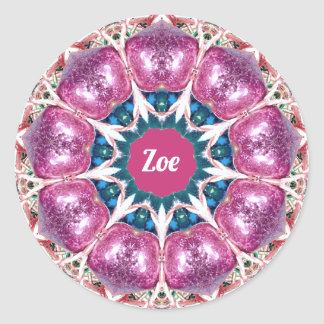 ~ Bright Abstract Pattern ~ Personalised ZOE ~ Classic Round Sticker