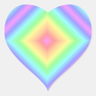 Bright Abstract Pattern Retro Pastel Rainbow Blur Heart Sticker