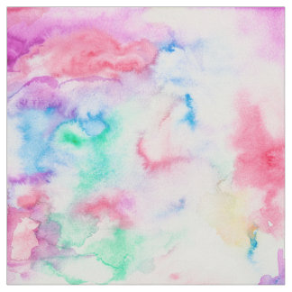 Bright abstract pink blue hand painted watercolor fabric