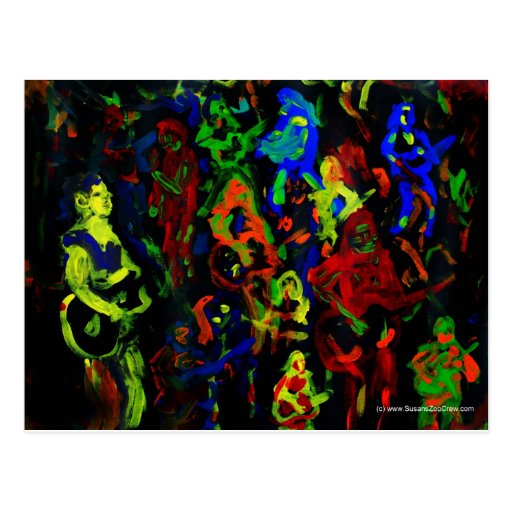 Bright Abstract Playing Musicians Postcard