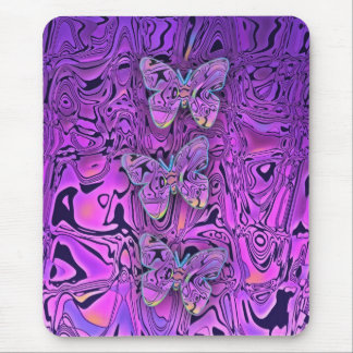 Bright Abstract Purple Butterflies Art Mouse Pad