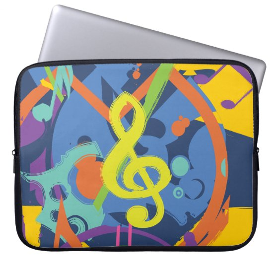 Bright Abstract Treble Clef Music Notes Computer Sleeve