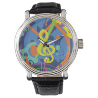 Bright Abstract Treble Clef Music Notes Watches