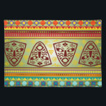 """Bright African Mask Tribal Pattern Placemat<br><div class=""""desc"""">Check out our contemporary patterns drawn from traditional African textile designs. This colorful pattern features African masks and geometric designs in green,  red,  yellow and blue.</div>"""