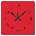 Bright Alizarin Red Square Wall Clock at Zazzle