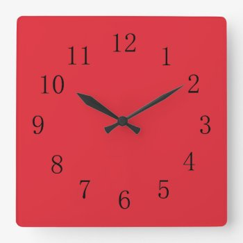 Bright Alizarin Red Square Wall Clock by Red_Clocks at Zazzle