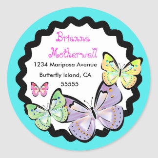 Bright and Beautiful Butterfly Address Label. Round Sticker