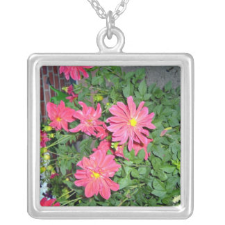 Bright and beautiful pink dahlia flowers pendant