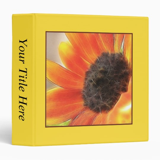 Bright and bold sunflower 3 ring binder