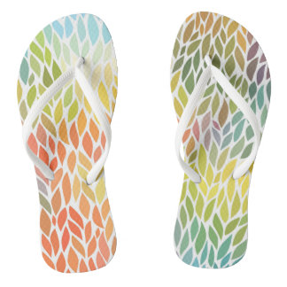 Bright and Cheerful Botanical Watercolor Flip Flop Flip Flops