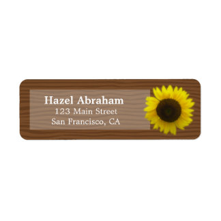 Bright and cheerful sunflower on wood grain label