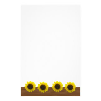 Bright and cheerful sunflowers on wood grain stationery