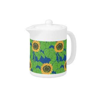 Bright and Cheerful Tea Pot - Golden Sunflowers