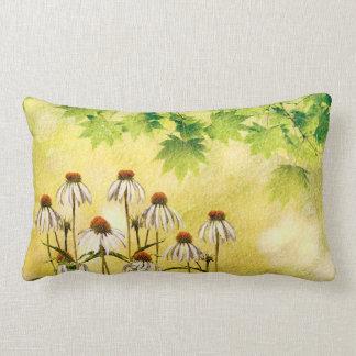 Bright and cheerful white echinacea flowers lumbar pillow