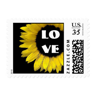 Bright and Cheerful Yellow Sunflower Wedding A07C Stamps