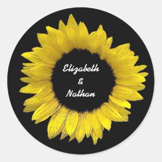 Bright and Cheerful Yellow Sunflower Wedding A08 Classic Round Sticker