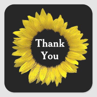 Bright and Cheerful Yellow Sunflower Wedding A08AG Square Sticker