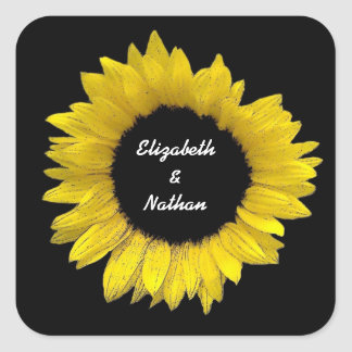 Bright and Cheerful Yellow Sunflower Wedding A08B Square Sticker