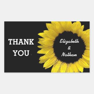 Bright and Cheerful Yellow Sunflower Wedding A08C Rectangular Sticker
