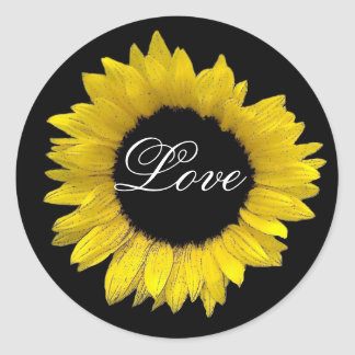 Bright and Cheerful Yellow Sunflower Wedding A08E Classic Round Sticker