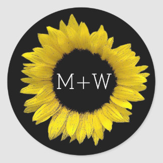 Bright and Cheerful Yellow Sunflower Wedding A08F Classic Round Sticker