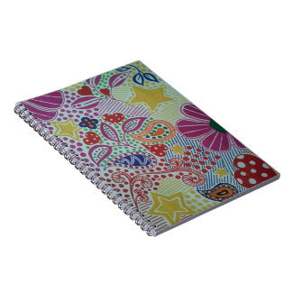 Bright and Cheery Colour Burst Doodled Design Notebook