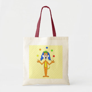 Bright and Colorful Cartoon Dog Juggling. Budget Tote Bag