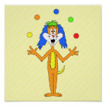 Bright and Colorful Cartoon Dog Juggling. Poster