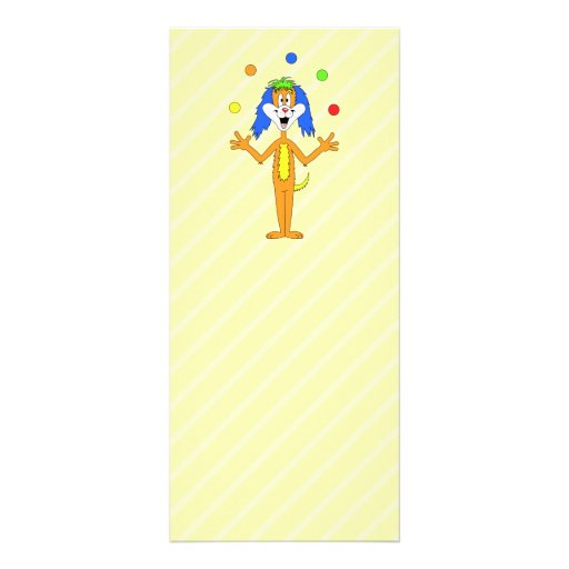 Bright and Colorful Cartoon Dog Juggling. Rack Cards