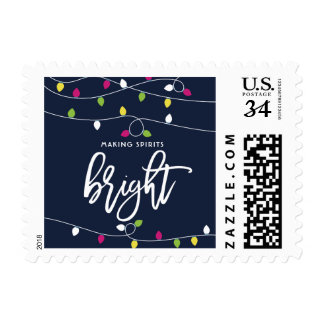 Bright and Colorful Christmas Lights I Postage