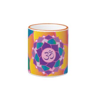 Bright and Colorful Crown Chakra Elegant Yoga Ringer Coffee Mug