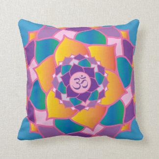 Bright and Colorful Crown Chakra Elegant Yoga Throw Pillow