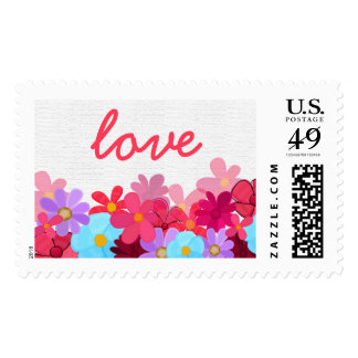 Bright and Colorful Floral Love Labels Stamps