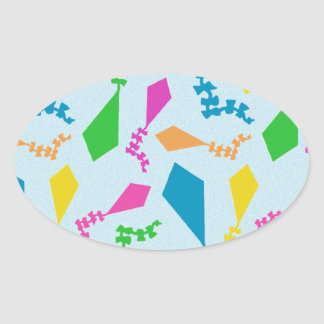 Bright and Colorful Flying Kites Pattern Oval Sticker